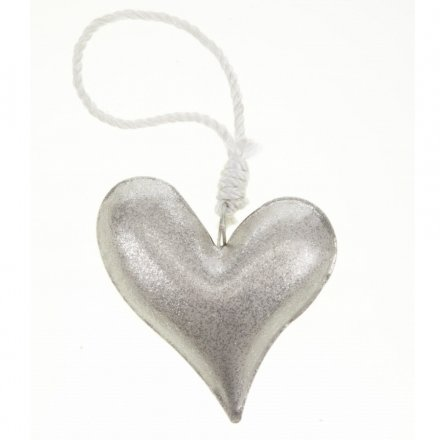 Large Hanging Silver Glitter Heart