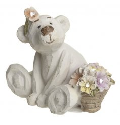 Bashful girl bear with flowers and rough-cut shabby chic finish