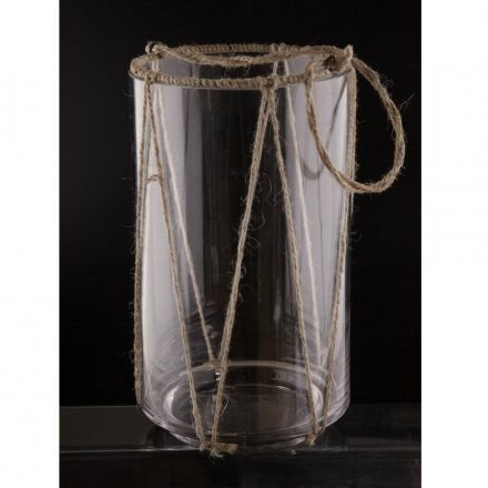 Tall Hurricane Lantern with Rope