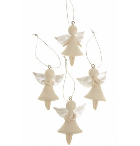 An assortment of chic angel decorations with pearl wings.