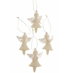 A mix of hanging resin angel decorations, perfect for the home all throughout the year
