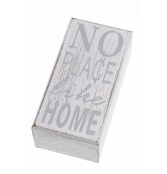 White and grey wooden block reading 'No Place Like Home' - a chic decorative item.