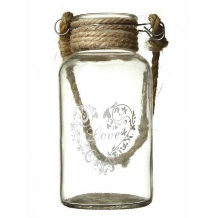Medium Glass Bottle with Rope Handle