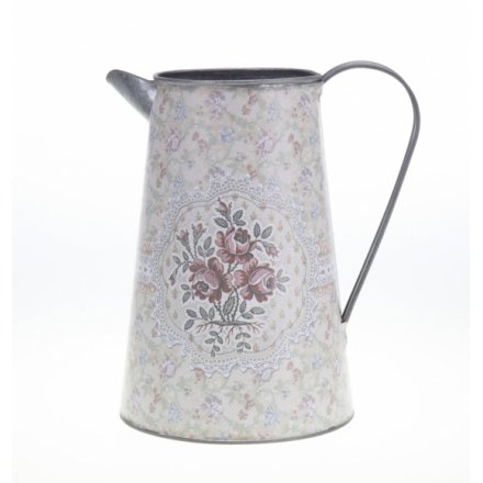 Large Metal Floral Jug