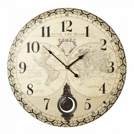 Wooden Atlas Clock with Pendulum 58cm