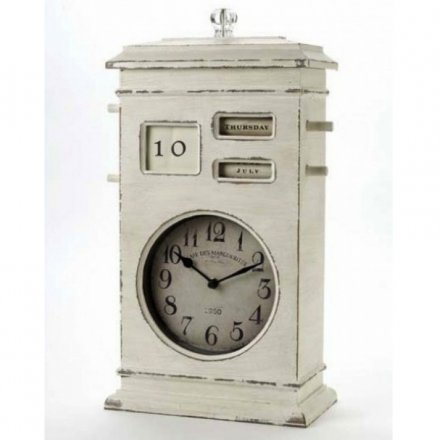 Large Cream Desk Clock & Calender