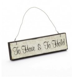 Great little wedding hanging wooden sign with saying