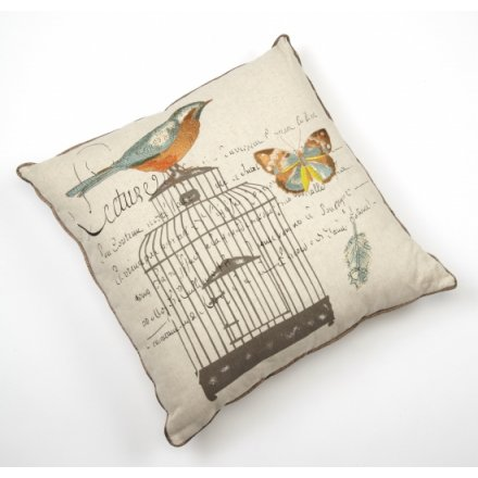 Birdcage Embroidered Cushion