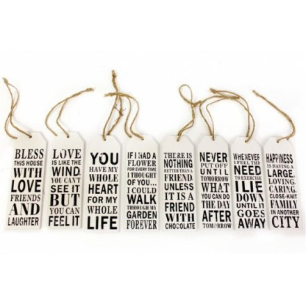 Tag Shaped Slogan Plaque 15 x 5cm