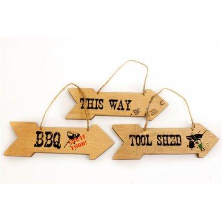Wooden Sign Arrow 3a 20cm