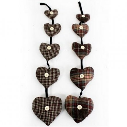 Tweed Hanging Scented Hearts (5)