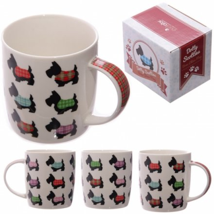 Stylised Scotty Dog Bone China Mug