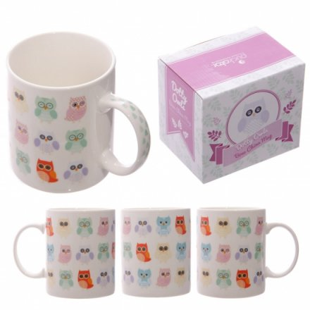 Owl Design China Mug Boxed