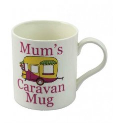 A fun themed Fine China Mug set with a caravan illustration and scripted text