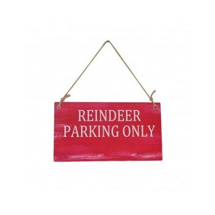 Reindeer Parking Wooden Sign