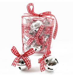 Festive silver bells in a box. Complete with gingham ribbon