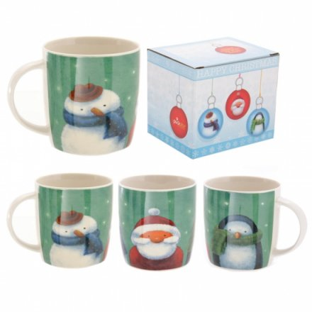 Single china mug with reindeer, snowman and penguin illustration.