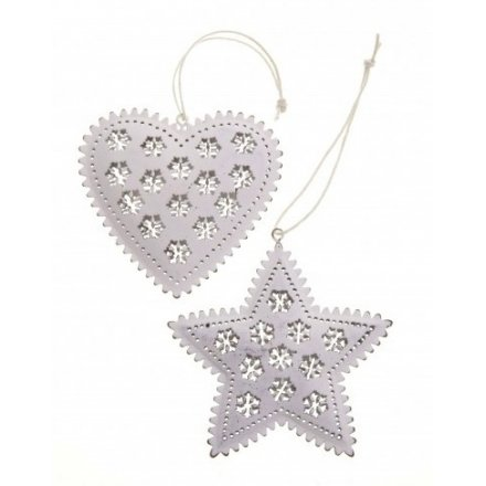 Hanging Metal Star and Heart Mix