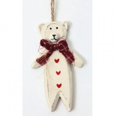 Wooden Bear Hanger With Heart Buttons