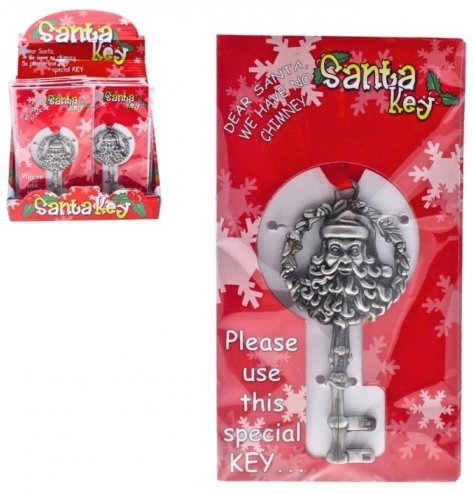 Individually wrapped traditional key with Santa portrait. Perfect for children without a chimney at home