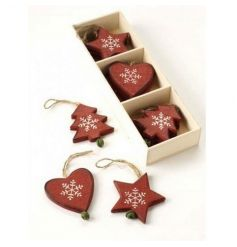 A charmingly simple set of red toned hanging wooden decorations,