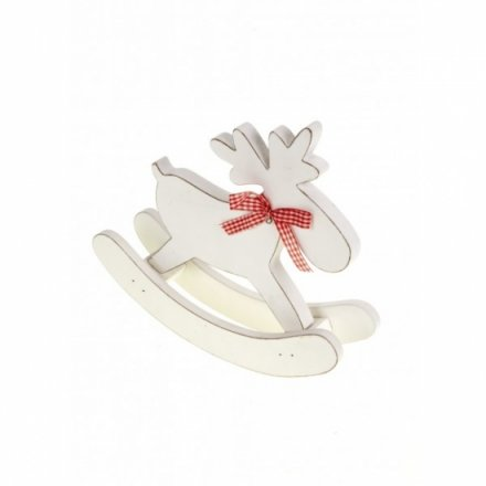 White Wooden Rocking Moose With Bow