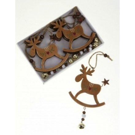 Wooden Hanging Reindeer Set