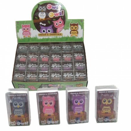 Cute Cartoon Owl Sharpener & Eraser Set