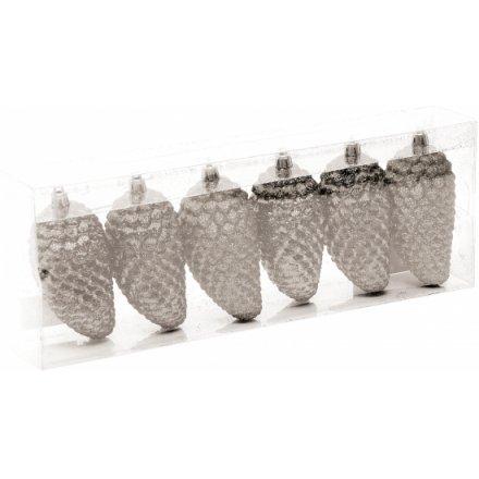 Silver Glitter Pine Cones Set
