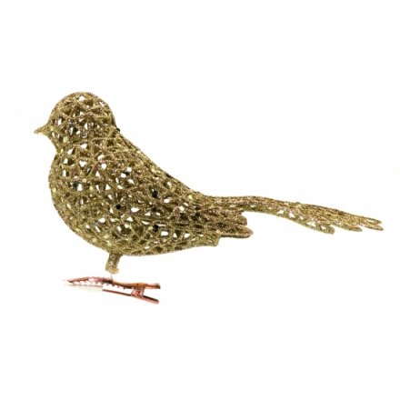 Glittered Filigree Clip on Bird Classic Gold