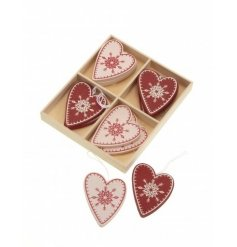 A delightful box of assorted hanging festive heart decorations