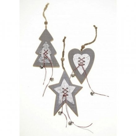 Wooden Tree Star Heart Decoration