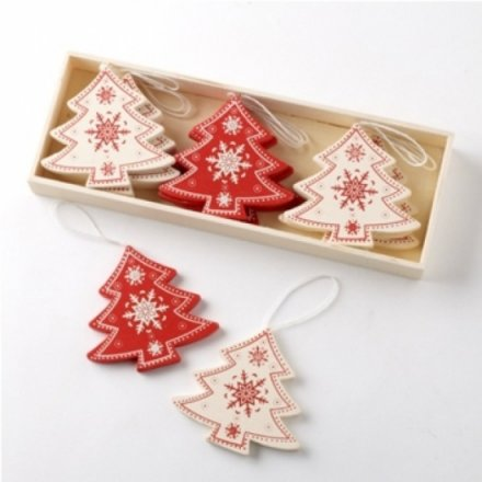 Wooden Red & Cream Trees In A Box Set