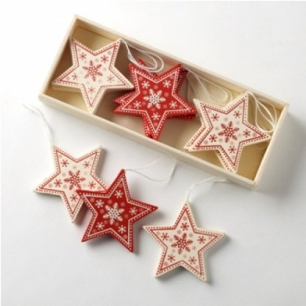Wooden Red & Cream Stars In A Box Set