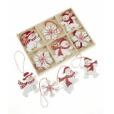A fantastic box of wooden decorations in various red and white snowman and snowflake designs.