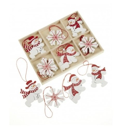 Red and white wooden snowman and snowflake hanging decorations in stripe, check and polkadot designs.