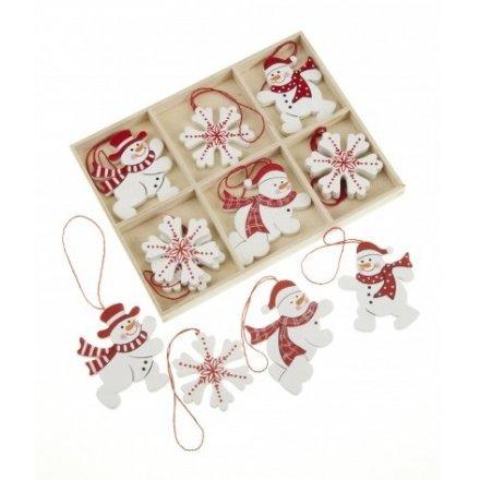Set Of Hanging Snowflake & Snowman Decs