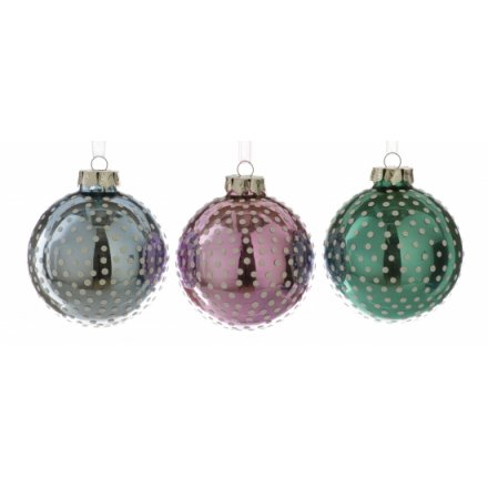 Glass Bauble With Dot Design