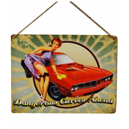 Dangerous Curves Vintage Metal Sign