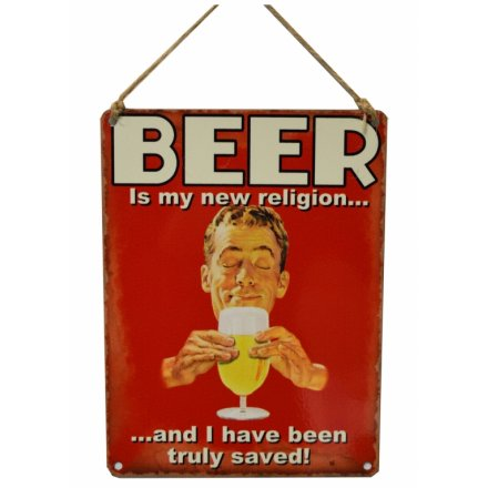 Beer is My New Religion Vintage Metal Sign