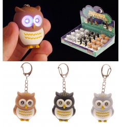 A cute selection of coloured owl key rings which light up. A great pocket money priced item and counter display product.