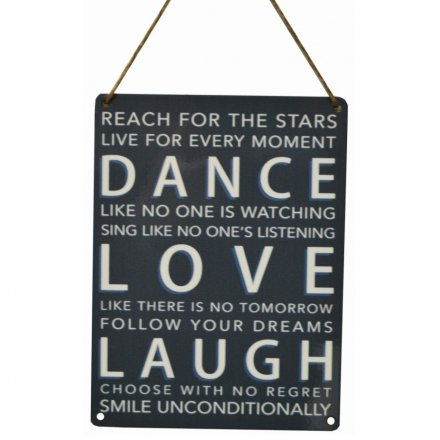 Dance Love Laugh Vintage Metal Sign