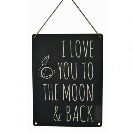 Moon and Back Vintage Metal Sign