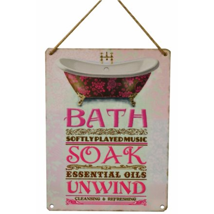Bath Soak Vintage Metal Sign