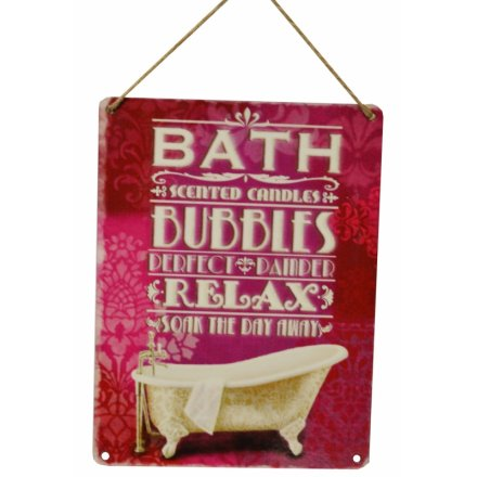 Bath Bubbles Vintage Metal Sign