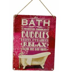 Glamorous pink and gold bath and bubbles metal sign with jute rope to hang.