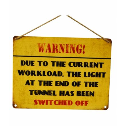 Warning! Lights Off Metal Sign