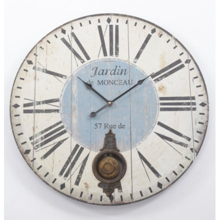Distressed Wood Pendulum Clock