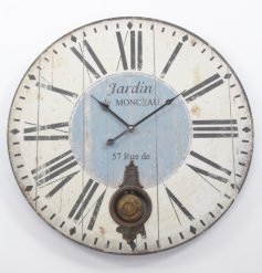 Shabby and chic wooden wall clock with pendulum