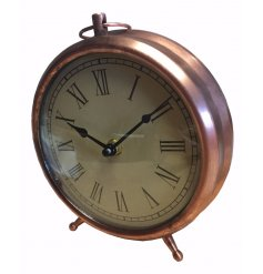 Vintage style copper alarm clock with Roman numeral face